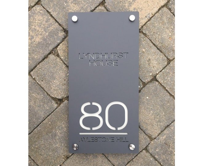 20 x 40 cm Bespoke House Number Door Sign Extra Large Unique Laser Cut Customised with Number, Road Name and House or Family Name
