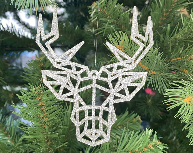 X3 Glitter Christmas Tree Decorations Geometric Stag Reindeer Laser Cut Contemporary Design Hanging Baubles Pack of 3