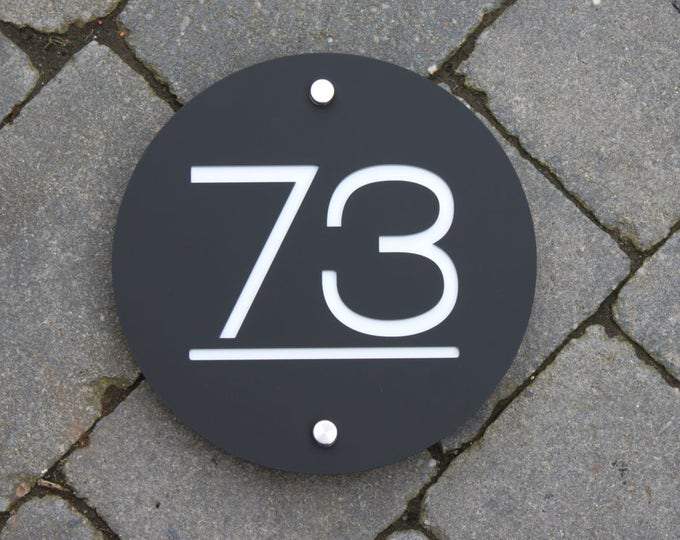 Modern House Number Sign, Large Circle Plaque 20cm Original and Unique Laser Cut Bespoke Design