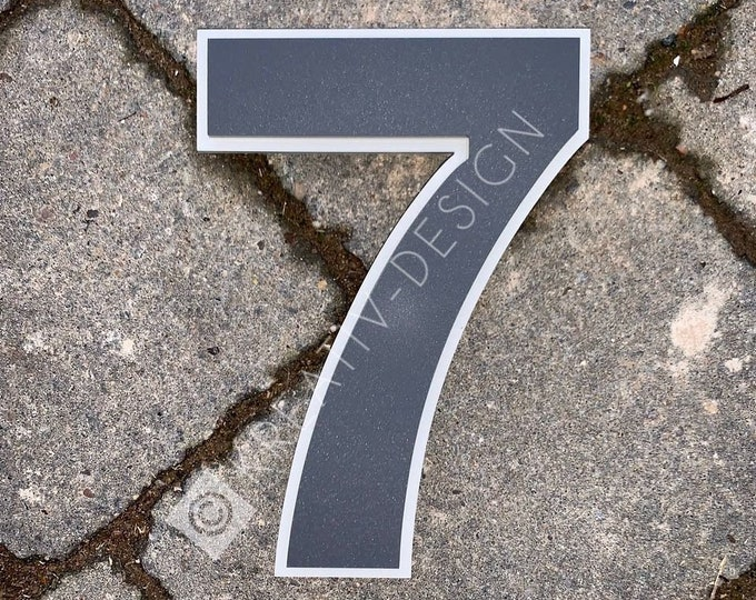 Large Modern House Number Digit 15cm Laser Cut Matte Acrylic Double Layer Contrast Colour with Invisible Wall Fixings