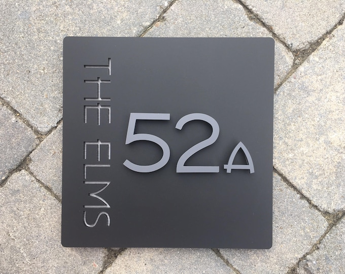 20 x 20 cm Contemporary 3D Floating House Number Door Sign Large Square Original &Unique Laser Cut Bespoke/Customised with Road/|House Name