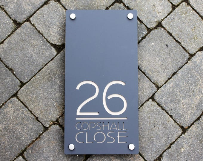 Modern House Number Door Sign Portrait Vertical Address Plaque. Unique Laser Cut Bespoke/Customised with Road or House Name