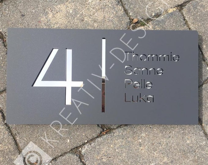 Bespoke House Number Door Sign,  Unique Laser Cut Customised with Number, Road Name and House or Family Names