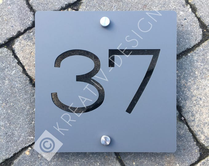 Modern House Number Door Sign 15cm x 15cm x 5mm Original and Unique plaque Bespoke Laser Cut Design