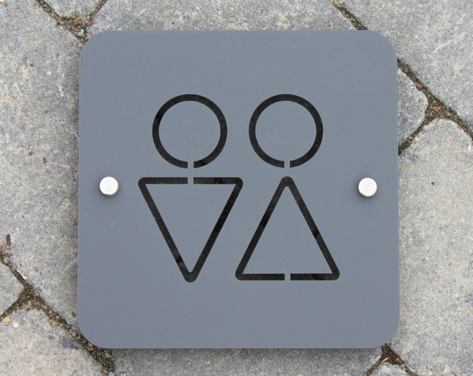 Modern Toilet Sign for bathrooms and homes Large Square Plaque 20cm x20cm Original Unique Laser Cut Design.