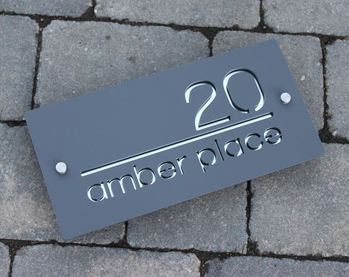 Modern House sign Door Number Plaque Landscape Original & Unique Laser Cut Bespoke/Customised with Road Name