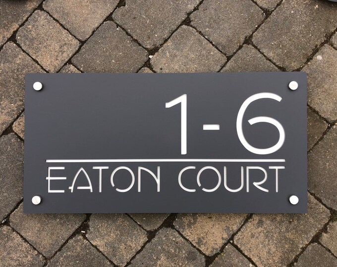 60 x 30 cm Bespoke House Number Door Sign Unique Laser Cut Customised with Number and Road or House/Family Name