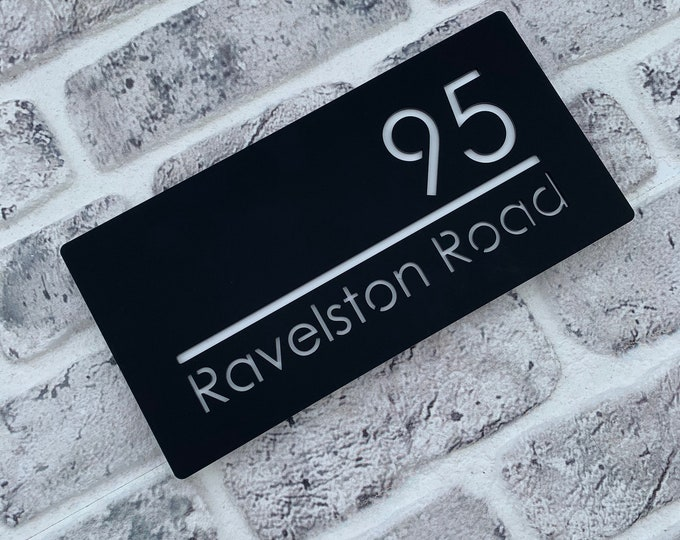Modern Rectangle House Sign 40 x 20cm Original Laser Cut Bespoke personalised with Road Name and House Number Wall or Door Plaque.