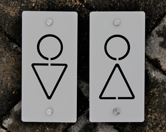Large Seperate House Bathroom Toilet Rest Room Male or Female Signs Plaque  100mm x200 mm x 5mm Original Unique Laser Cut Design