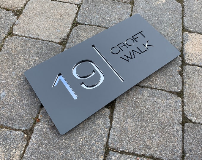 Modern House Sign Number Door Rectangle 30cm x 15cm Original and Unique Laser Cut Bespoke/Customised with Road/|House Name