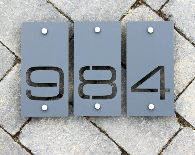House Number Door Sign 100mm x 200mm x 5mm Original and Unique Laser Cut Plaque Bespoke  Design
