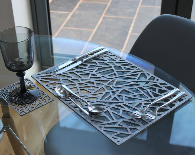 Placemat / Table Mat and Coaster set, Large Contemporary Laser Cut Rectangular Geometric Design in Thick Melange Felt