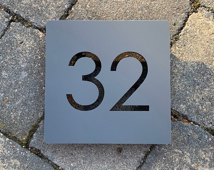 Modern House Number Door Sign 15cm x 15cm Original and Unique plaque Bespoke Laser Cut Design