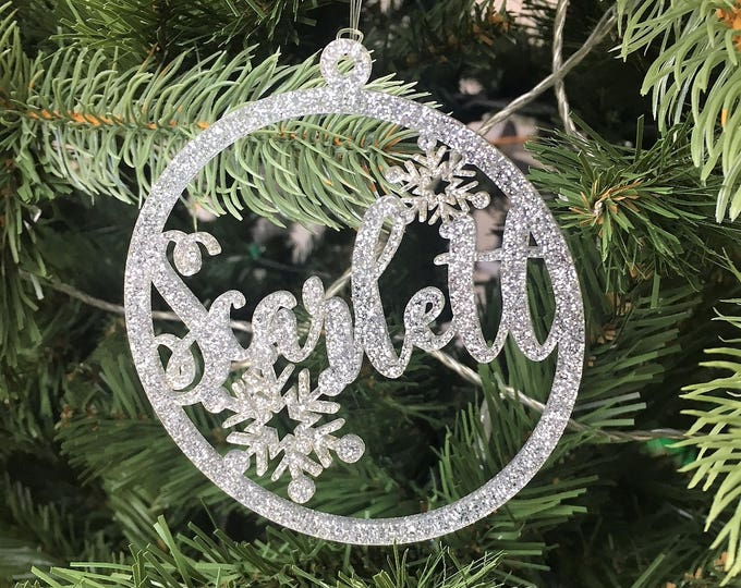 Large Round Personalised Name Glitter Christmas Tree Decoration Laser Cut Hanging Baubles.