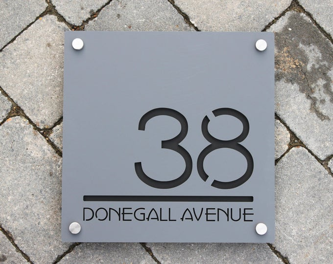 Contemporary House Number Door Sign. Square Plaque, Extra Large  30cm x 30cm, personalised with Road or House Name