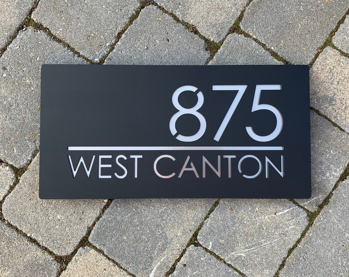 Modern Floating House Number Door Sign Landscape 40cm x 20cm Original and Unique Laser Cut Bespoke/Customised with Road Name