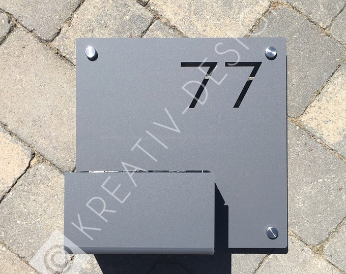 Modern House Number Sign with Planter Succulents Tray Extra Large Square or Rectangle  300mm x 300mm x 5mm  or 300 x 200mm x 5mm