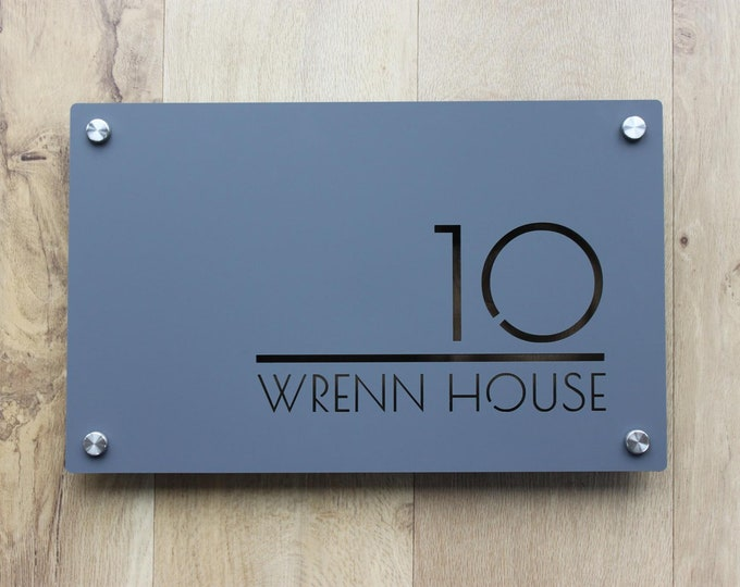 House Sign Door Number Rectangle  300mm x 200mm  Original and Unique Laser Cut Bespoke Laser Cut Design
