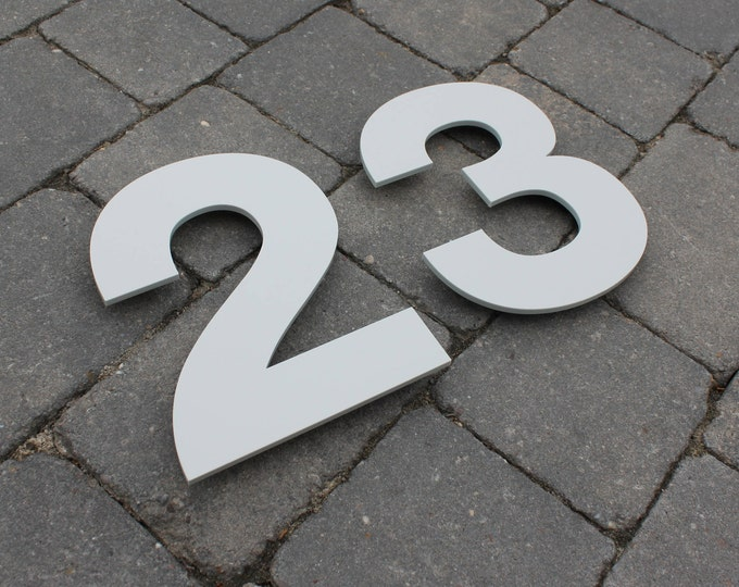 Modern Contemporary House Number / Letter Door Sign 200mm tall x 5mm Laser Cut Matte Acrylic With Invisible Floating Wall Fixings