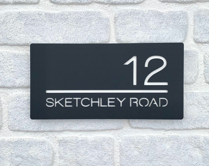 Modern House or Door Sign Rectangle 30 x 15cm Original and Unique Laser Cut Bespoke/Personalised with Number and Road or House Name