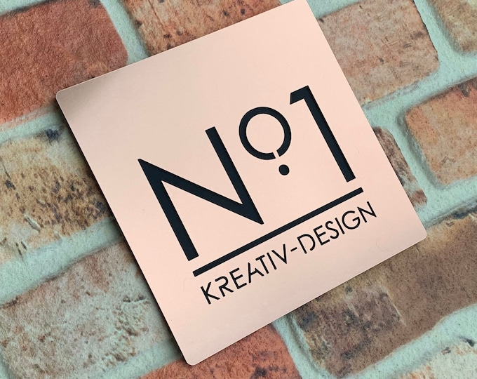 Modern Copper Effect House Number Door Sign, Square Original and Unique Laser Cut Bespoke/Customised with Road/ House Name