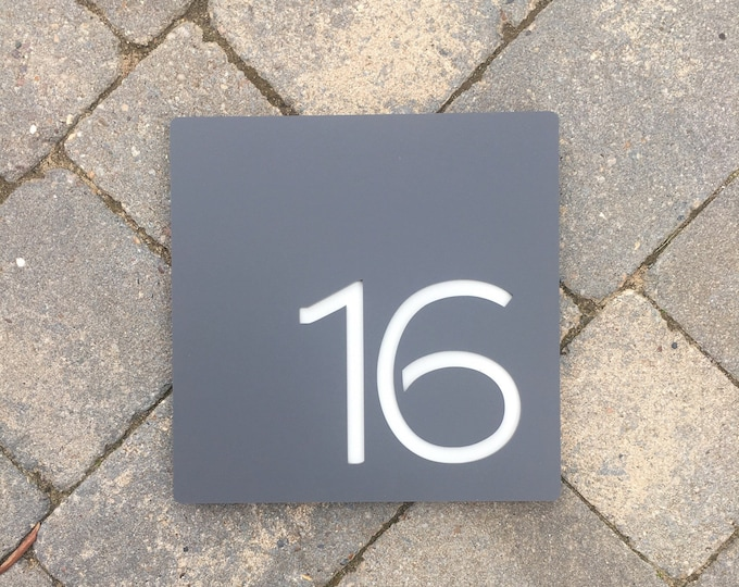 House Number Door Sign  Large Square 200mm x 200mm x 6mm Original and Unique Laser Cut Design
