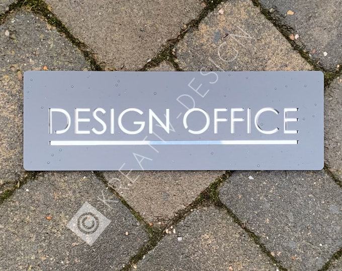 Name Sign for home or office, Rectangle 30cm x 10cm Modern Laser Cut Bespoke door or wall plaque.