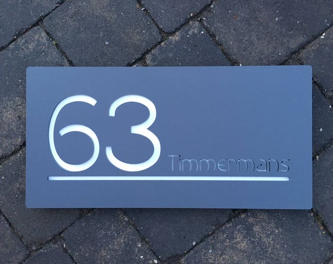 Modern House Sign Number Door Large Rectangle 30cm x 15cm Original and Unique Laser Cut Bespoke/Customised with Road/|House Name