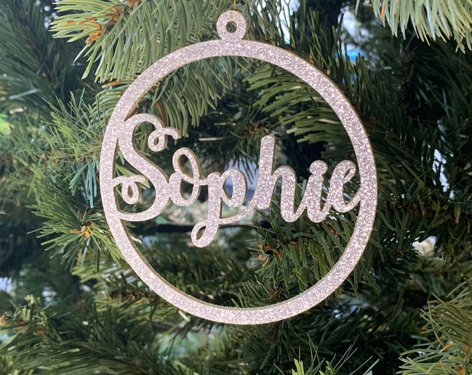 Glitter Christmas Tree Shatterproof Decoration Custom Name Hanging Baubles Personalised Gift