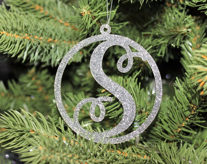 Modern Large Glitter Script Christmas Initial Monogram Letter Tree Decorations Laser Cut Design Round Hanging Baubles