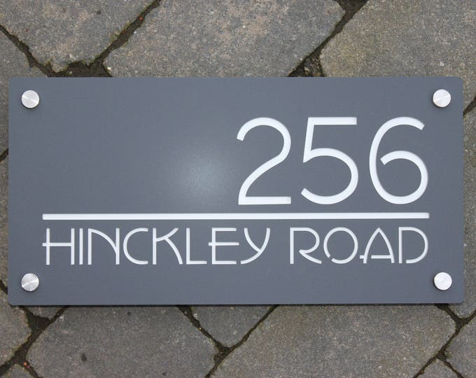 Modern House Number Door Sign Landscape 40cm x 20cm Original and Unique Laser Cut Bespoke/Customised with Road Name
