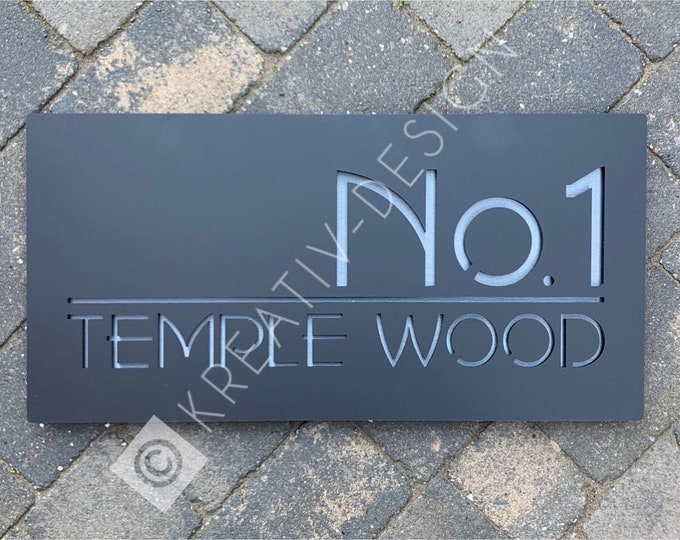 60 x 30 cm Bespoke House Number Door Sign XXL Unique Laser Cut Customised with Number and Road or House/Family Name