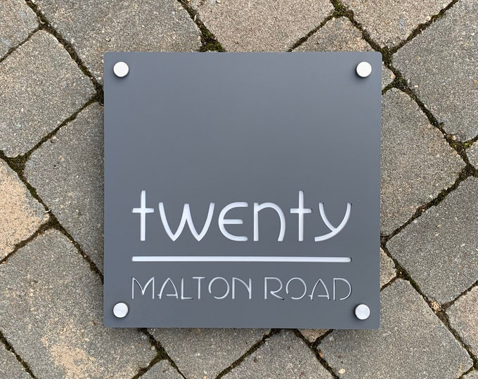 Large Modern House Sign, 30 x 30cm Square Address Plaque, Personalised with Numbers and Road or House Name