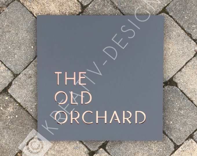 House Name Sign, Extra large Square 40 x 40 cm  Modern Home Address Sign