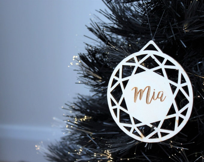Geometric Large Personalised Christmas Tree Decorations Laser Cut Baubles Hanging Shatterproof and Environmentally friendly