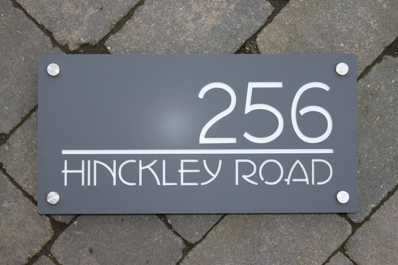 Modern house number door sign extra large landscape 40cm x 20cm original and unique laser cut bespoke customised with road name