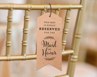 Wedding Chair Reserved Tags Printable Download for Weddings US Letter