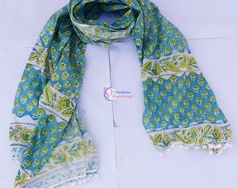 Indian Handmade wraps Hand Block Printed stole Multi Colour Scarf Cotton Dupatta women Party Wear Stole Sarong Scarve Jaipuri