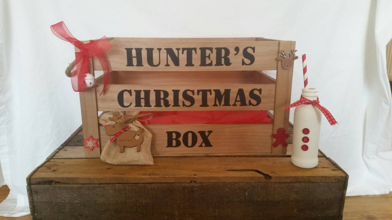 Christmas Crate Box.Christmas Eve Box Christmas Eve Crate Christmas Crate Xmas Eve Box Christmas Hamper Goodie Box Personalised Christmas Eve Box Santa