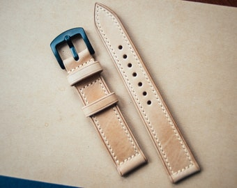 Leather Watchstrap, Handstitched Watchband, Natural Color Vegetable Tanned Calf Leather