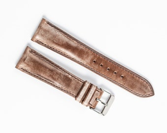 Brown waxed leather WATCH STRAP, 16mm, 17mm, 18mm, 19mm Watch band, 22mm, 24mm Replacement Watchstrap Handmade