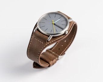 Military watch band, Bund strap for men. Handmade cuff watchband watchstrap. Pilot Aviator watch strap military style wide watch band.