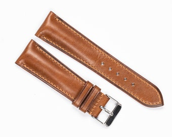 Tan Leather Watch band, watch strap, for 16mm, 17mm, 18mm, 19mm, 20mm, 21mm, 22mm, 24mm. Premium watchband with padded profile. Full Grain