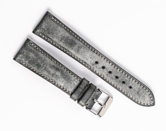 Black ghost wax watch strap. Padded watch band, 16mm, 17mm, 18mm, 19mm, 20mm, 21mm, 22mm 24mm. Handcrafted watchstrap