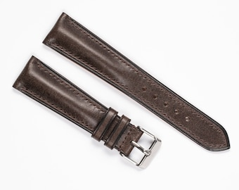 Brown leather watch band. Premium vintage style watch strap. Padded profile, handmade, full grain leather, 16mm, 17mm, 18mm, 19mm, 20mm, 21