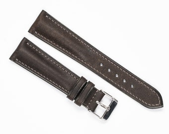 Distressed leather WATCH STRAP, Gray watch band, padded watchstrap Men's watch strap. 22mm, 19mm, 18mm, 20mm, 16mm, 17mm, 24mm, 21mm