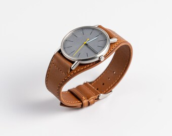 Leather Full BUND WATCH BAND. 18mm 20mm 19mm custom size. Replacement miliatary watch strap