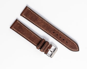Vintage watch band. Brown Classical leather watch strap. Handmade for 16mm, 17mm, 18mm, 19mm, 20mm, 21mm, 22mm. Replacement watch band.