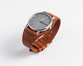 Leather watch Cuff, Buttero leather – Chestnut color.