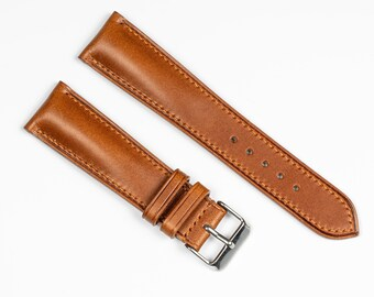 Whisky leather watch band padded. Watch strap for 18mm, 19mm, 20mm, 21mm, 22mm, 24mm watches. Handmade watchband, full grain leather.